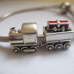 PANDORA Christmas Train Charm, Red Enamel bead